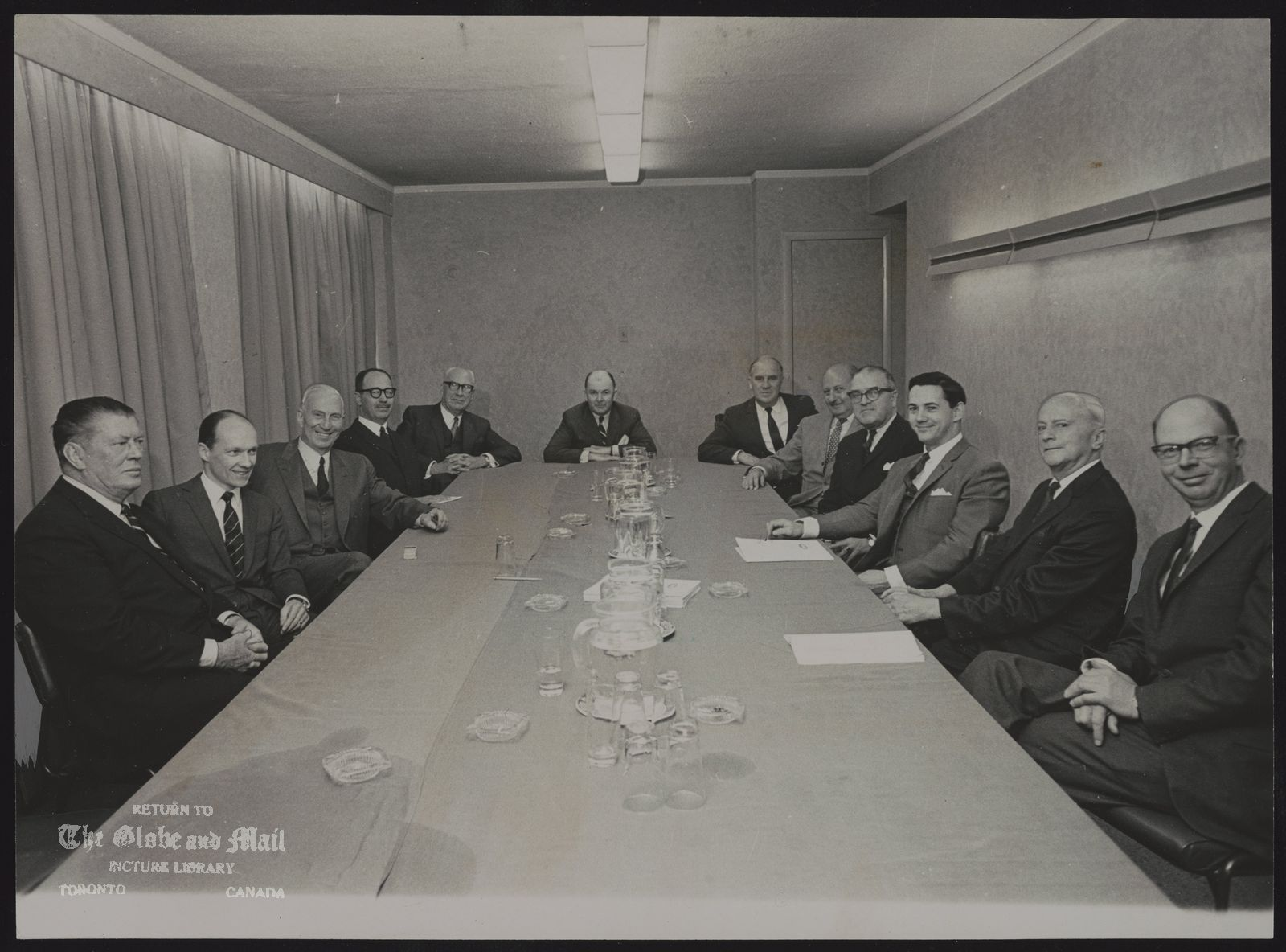 BURNS FOODS LIMITED Board of directors of Burns Foods Ltd. of Calgary met yesterday in Toronto, Attending, from left: Gene Tunney, Stamford, Conn.; G.E. Creber, Toronto; H. I. Price, Toronto; Raymond Dupuis, Montreal; W.A. Johnson, Winnipeg; A.J.E. Child, president; J. Howard Kelly, Calgary; C. A. Pollock, Kitchener, F.T. Sherk, Toronto; P.B. Hill, Toronto; H.S. Spicer, Hamilton; G.L. Burton, Claresholm, Alta. Absent are F.B. Brown, W.D. Cumings and R. Howard Webster, Company was first incorporated as P. Burns and Co. Ltd. in 1890.