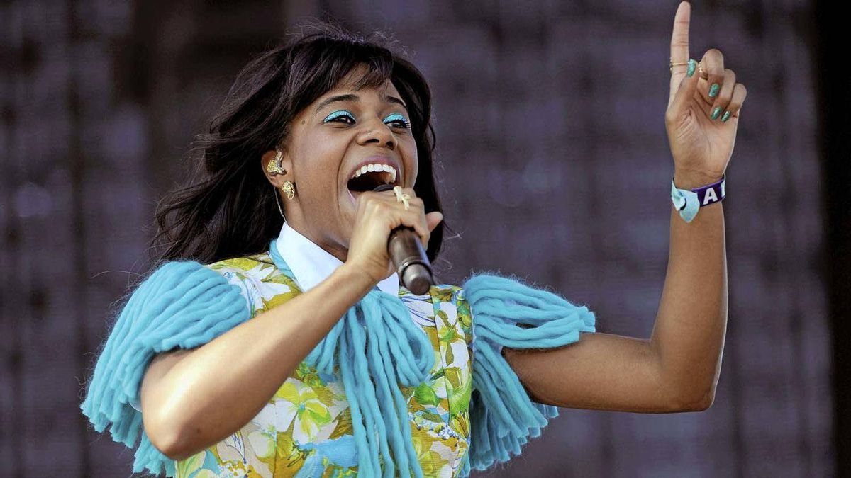 Santigold performs during the first weekend of the 2012 Coachella Valley Music and Arts Festival, Sunday, April 15, 2012, in Indio, Calif.