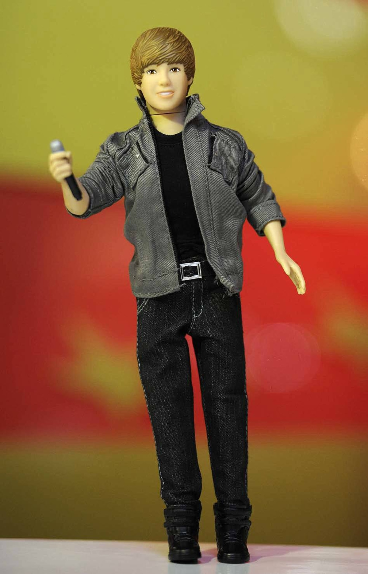 A Justin Bieber singing doll is seen at Hamleys toy store in London June 28, 2011. The Regents Street store unveiled its predictions as best sellers for the Christmas season at a media event on Tuesday.