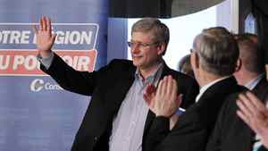 Conservative Leader Stephen Harper at a campaign raily in Beaupre, Que., on April 14, 2011.