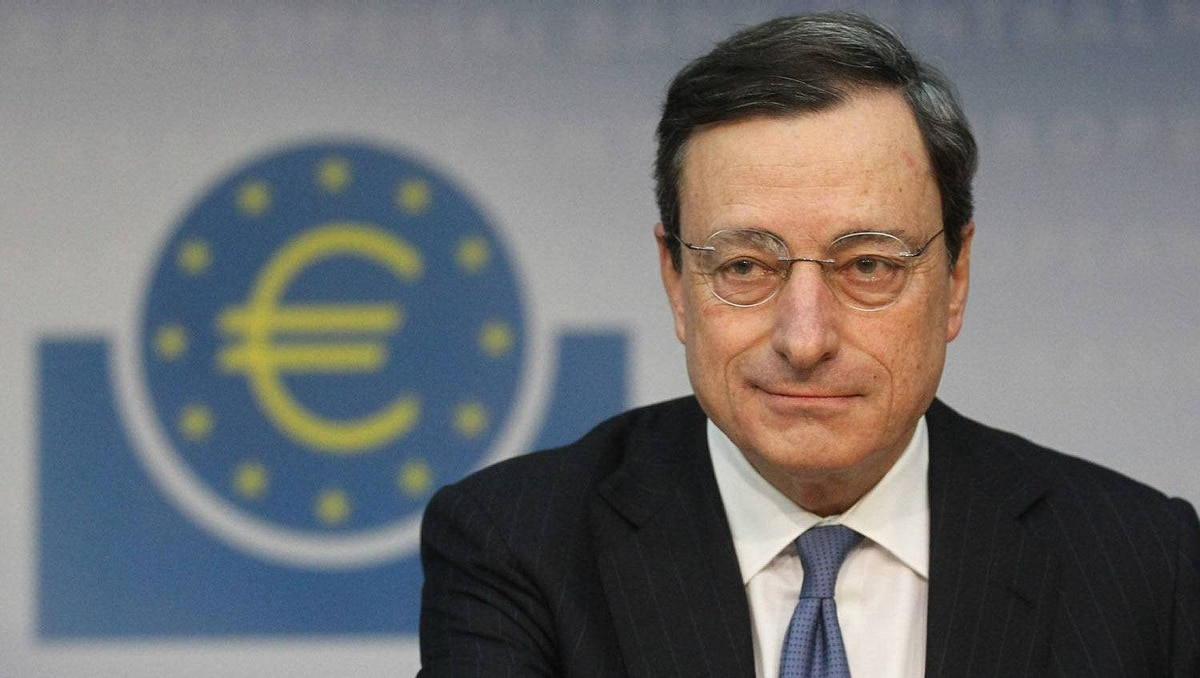 The European Central Bank (ECB) President Mario Draghi speaks during the monthly news conference in Frankfurt, January 12, 2012.