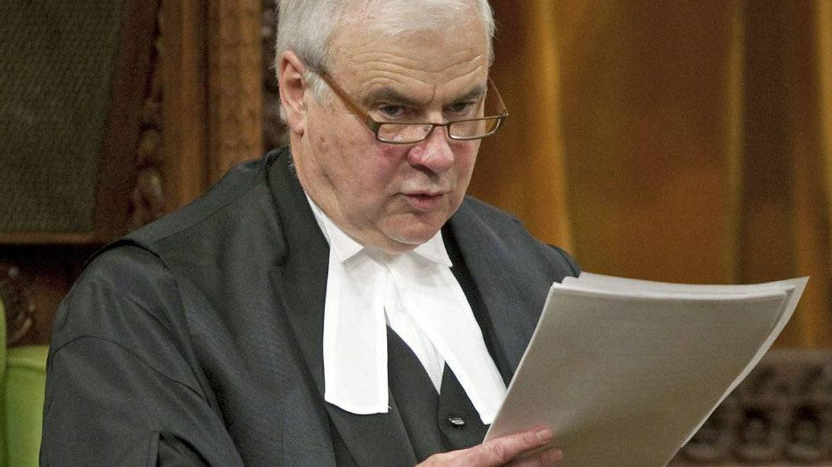 Speaker Peter Milliken delivers a ruling in the House of Commons on April 27, 2010.