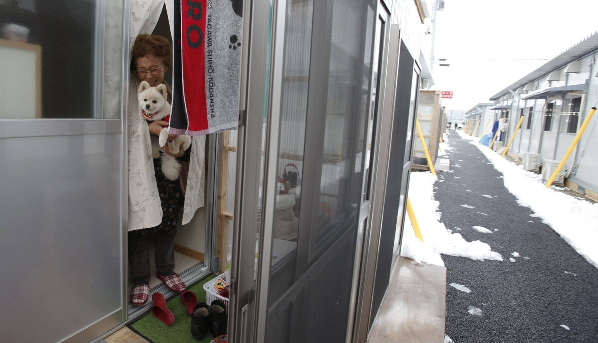 Katsuko Abe, 71, holds her dog Kaede as she looks out from her living quarters at the Midorigaoka temporary shelter in Koriyama, Fukushima prefecture in the Tohoku region, February 27, 2012.