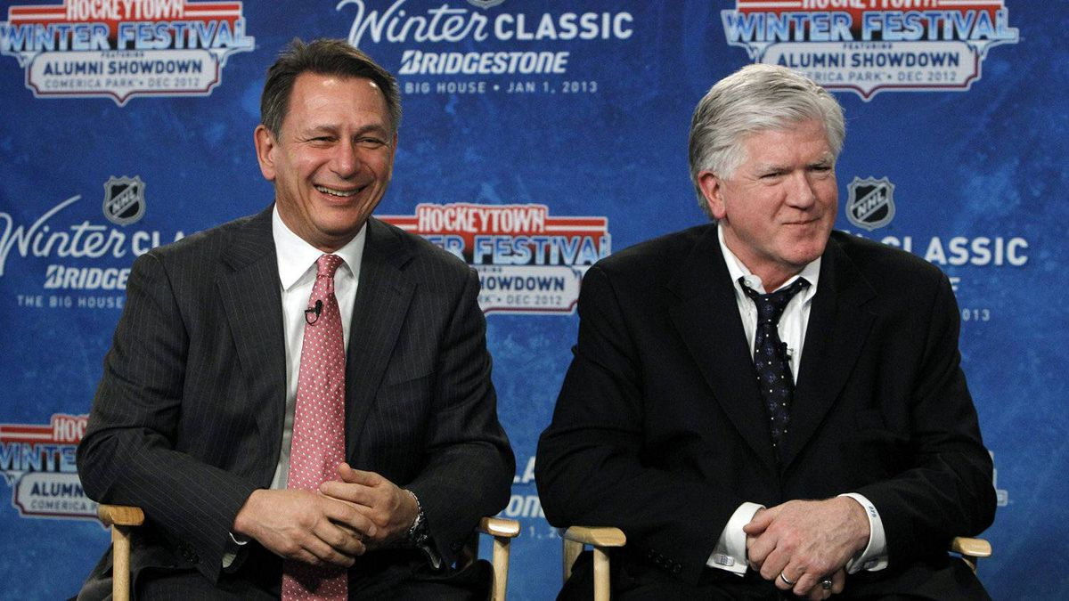 Detroit Red Wings general manager Ken Holland, left, and Toronto Maple Leafs President & General Manager Brian Burke speak at a news conference to announce the NHL Winter Classic hockey game at Comerica Park in Detroit, Thursday, Feb. 9, 2012. The Toronto Maple Leafs will play the Detroit Red Wings at Michigan Stadium in Ann Arbor, Mich., on Jan. 1, 2013.