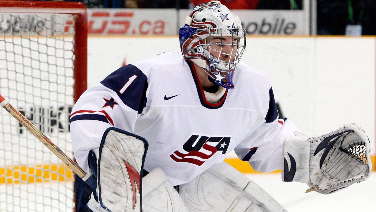 United States goaltender Jack Campbell will be among the key players to watch at this year's IIHF World Junior Hockey Championship.(Photo by Richard Wolowicz/Getty Images)