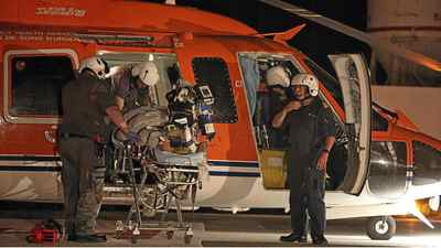 A woman is air lifted to Sunnybrook Health and Sciences Centre by Ornge air ambulance. Officials are investigating design problems with a fleet of ambulance helicopters (not pictured here).