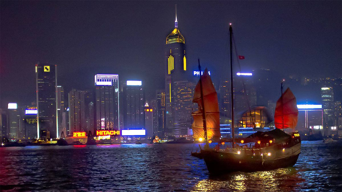Tony R. Wagstaff, Kitchener, Ont.: I was preparing to photograph the sound-and-light show that occurs every night in Hong Kong, when an illuminated tourist junk came sailing by