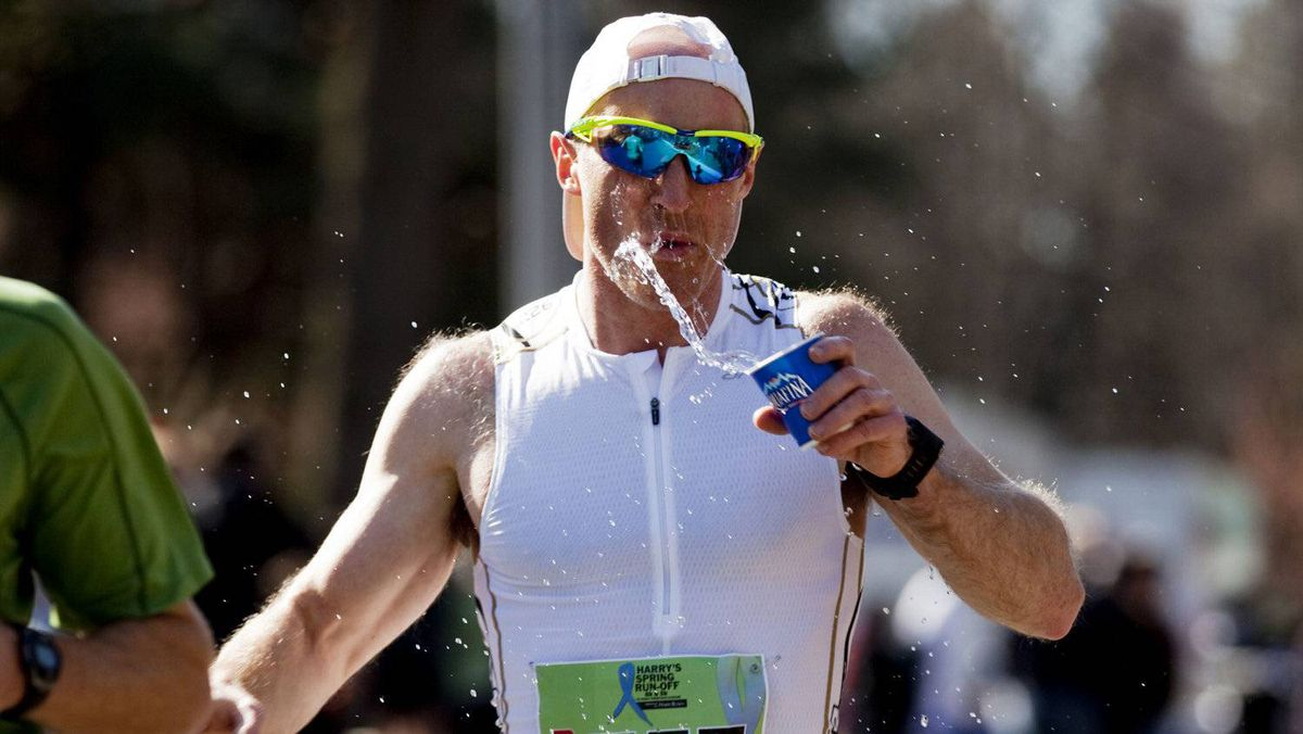 Bill Wells takes a moment to cool down during Saturday's run.