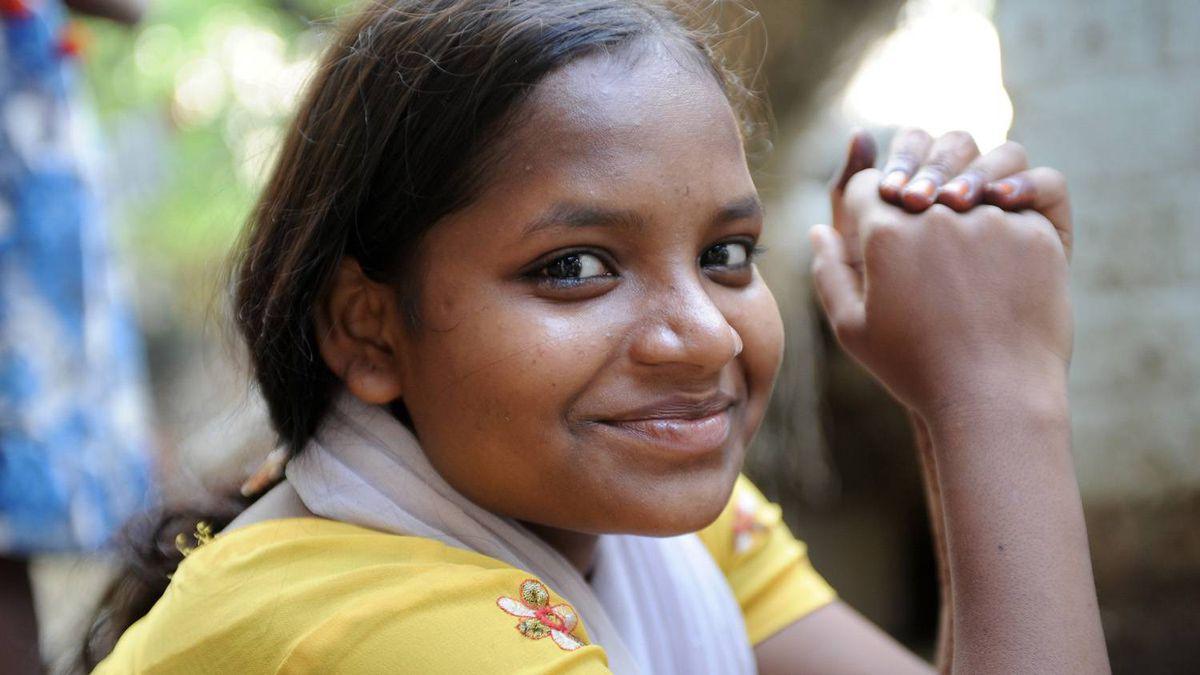Poonam in her home village of Jamsaut.