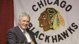 Former Chicago Blackhawks general manager Dale Tallon speaks at a news conference in Chicago.