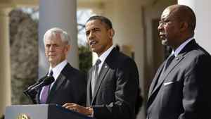UU.S. President Barack Obama announces new efforts to enforce U.S. trade rights with China, He is flanked by Commerce Secretary John Bryson, left, and U.S. Trade Representative Ron Kirk.