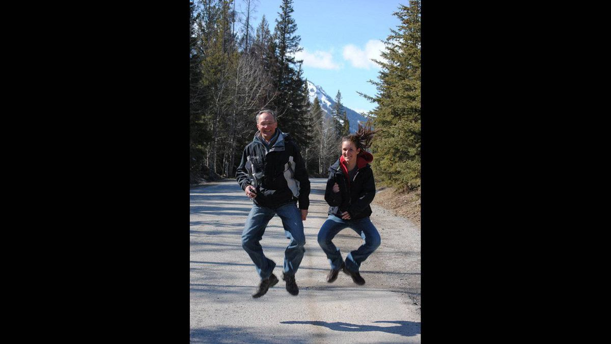 Barbara Wackerle Baker photo: Street Scenes - Apr 23/2011 - my brother and neice kicking up heels and acting up on the back streets of Banff, Alberta.