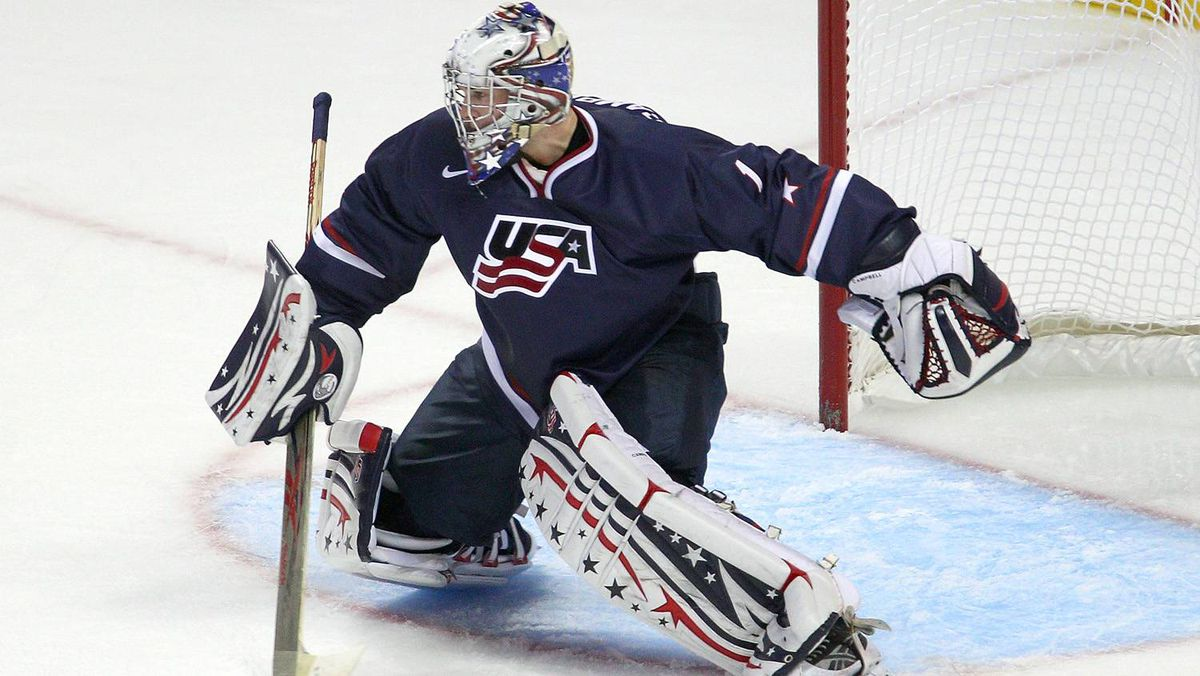 Jack Campbell of the United States plays in goal against Slovakia during the 2011 IIHF World U20 Championship game between the United States and Slovakia on December 28, 2010 at the HSBC Arena in Buffalo.