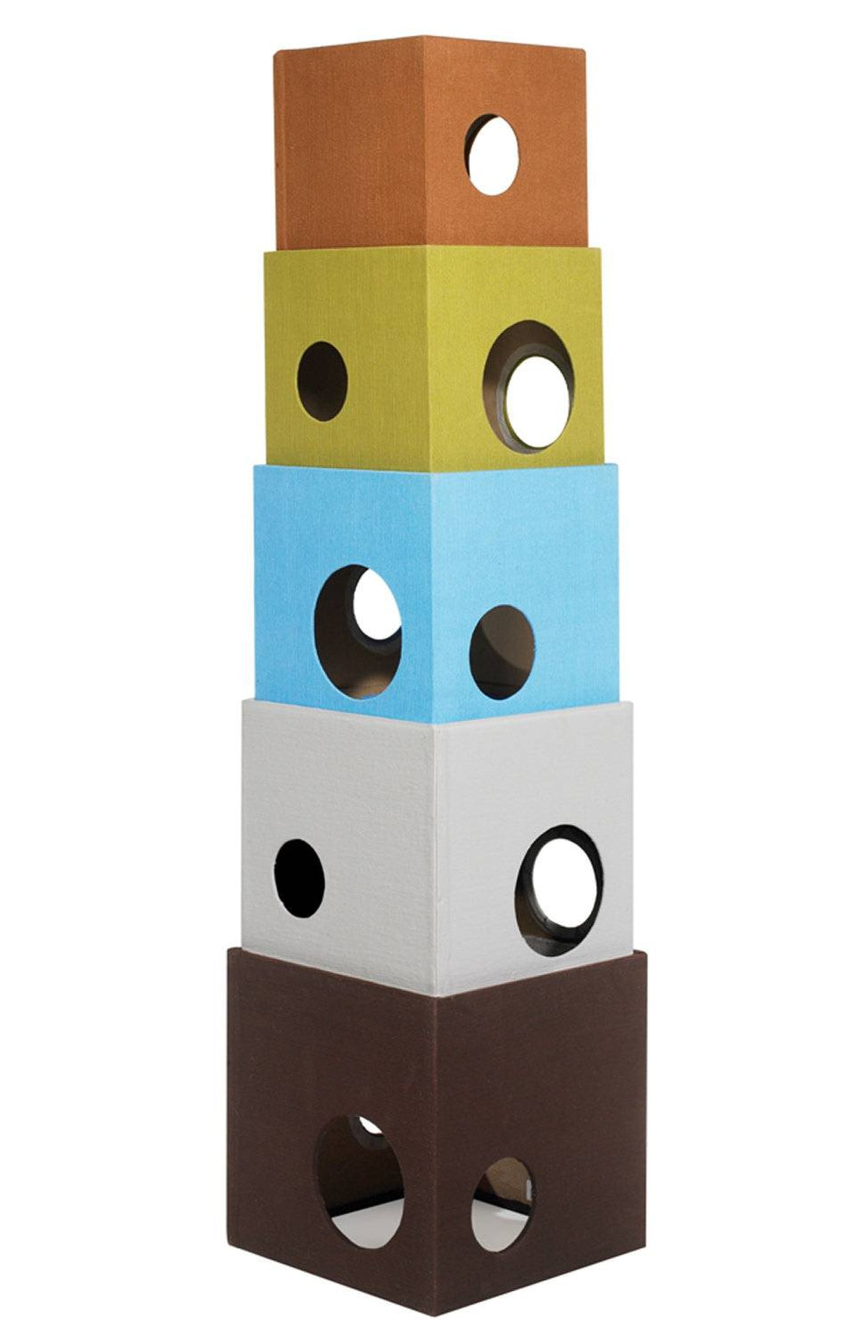 For a kitten climbing, hiding, roaming, scratching good time, we love this five-storey tower from Bow Wow Haus in Vancouver. Each block can be stacked and separated any way you choose, and all cubes will nest in the bottom cubes for easy storage. Cat tower, $320, bowwowhaus.ca