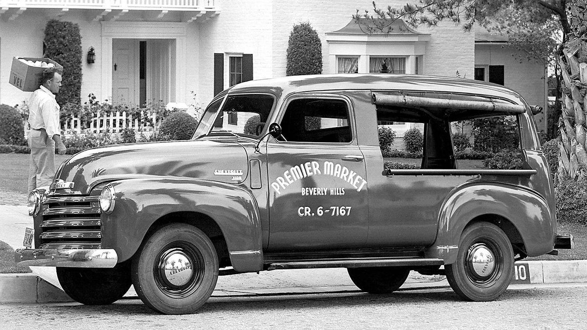 1949 Chevrolet Canopy Express, often used by salesmen to display their wares.