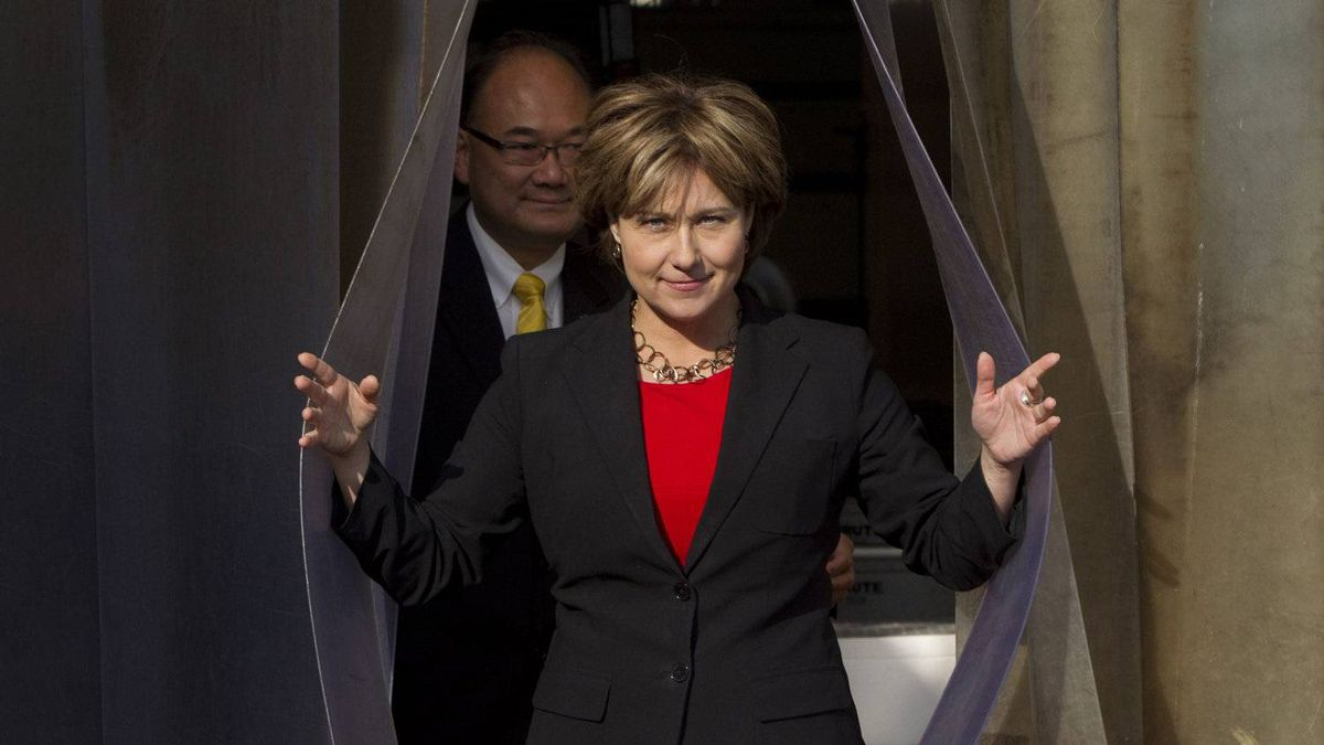 B.C. Premier Christy Clark arrives at a news conference at Adanac Seafoods in Vancouver on Oct. 27, 2011. She outlined the details for her coming trade mission to Asia.