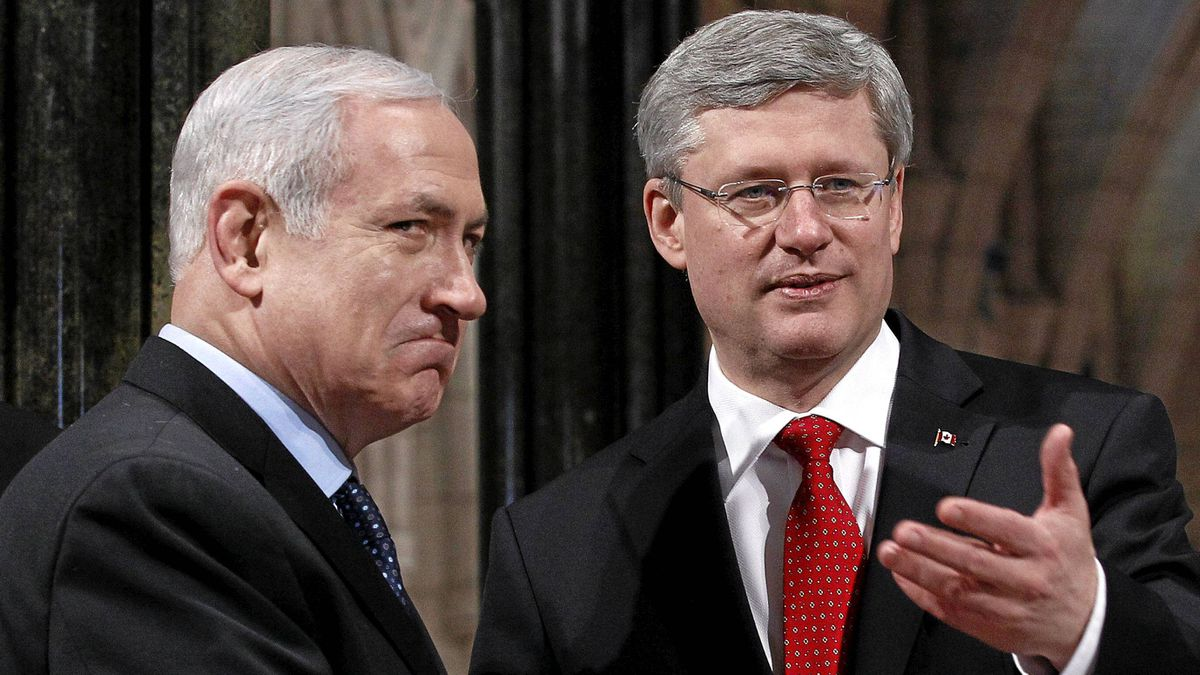 Prime Minister Stephen Harper shakes hands with Israel's Prime Minister Benjamin Netanyahu in the Rotunda on Parliament Hill in Ottawa on March 2, 2012.