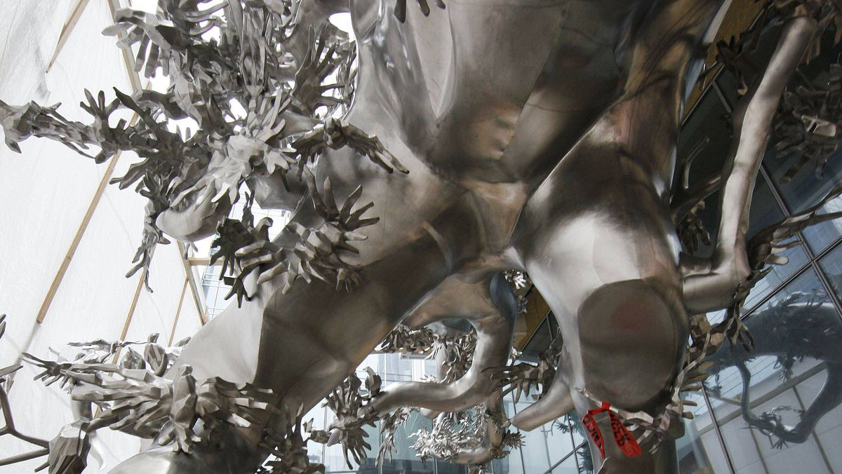 Work is being done to prepare the site of the new massive outdoor stainless steel sculpture called Rising, by Chinese artist Zhang Huan. It will stand outside the Living Shangri-La on University Avenue in Toronto.