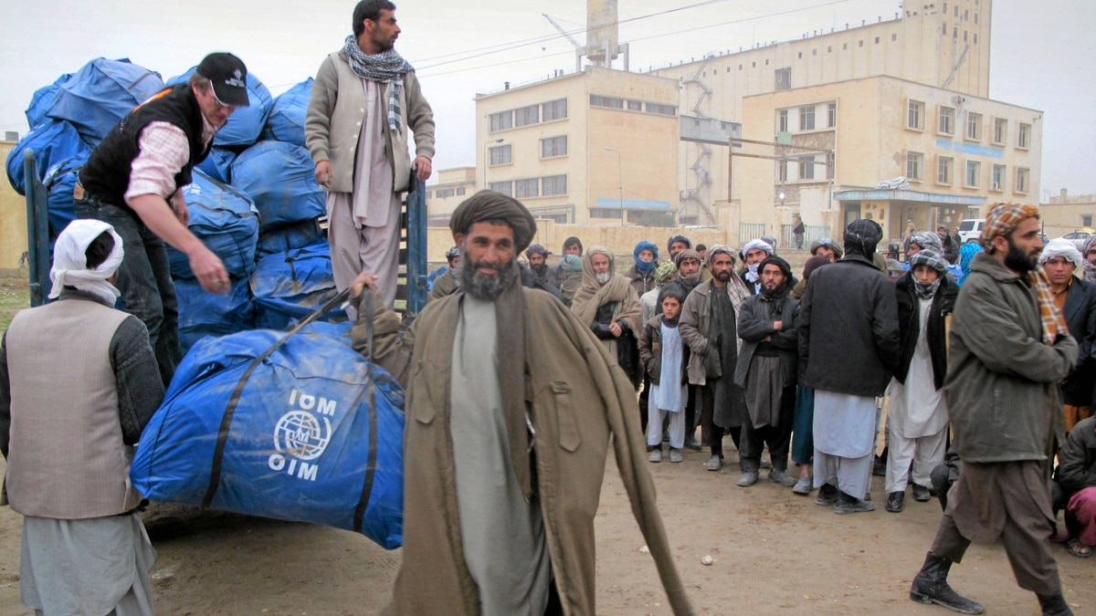 An Afghan wheat farmer Mir Ahmad, a 58-year-old receives a sack containing humanitarian aid donated by International Organization for Migration (IOM) for drought-hit families in Mazar-e-Sharif, Balkh province, north of Kabul, Afghanistan.