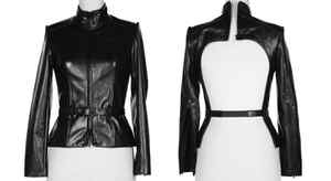 Izzy Camilleri's lamb leather jacket ($435 through www.izzycamilleri.com) is lined in jersey and features a high back with separating zipper.