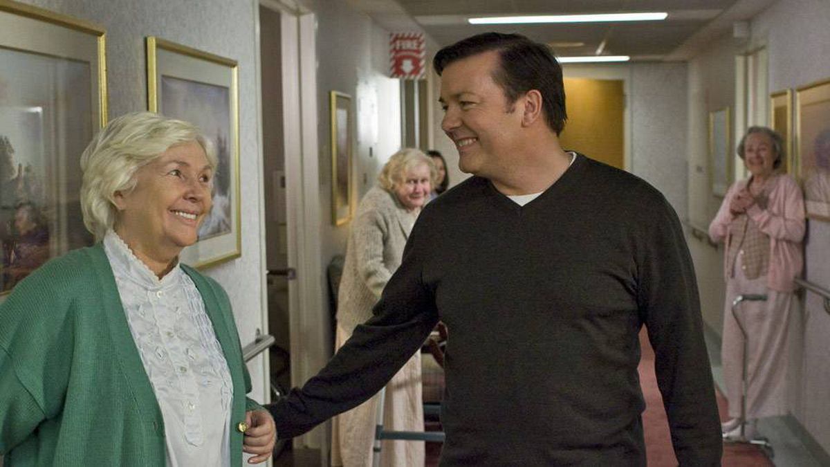 Mark (Ricky Gervais) visits his ailing mum (Fionnula Flanagan) at A Sad Place for Hopeless Old People.