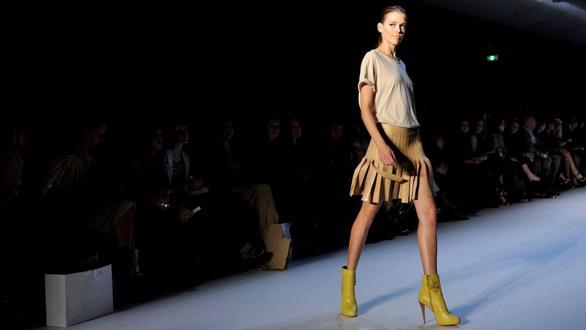 A model showcases designs by Flannel on the catwalk during Rosemount Australian Fashion Week Spring/Summer 2011/12 at Overseas Passenger Terminal on May 2, 2011 in Sydney.