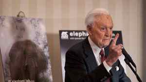 Retired celebrity TV host Bob Barker lashes out at Edmonton's mayor and city council on the Edmonton Zoo's treatment of it's captive elephants during a press conference April 15, 2011 in Toronto.