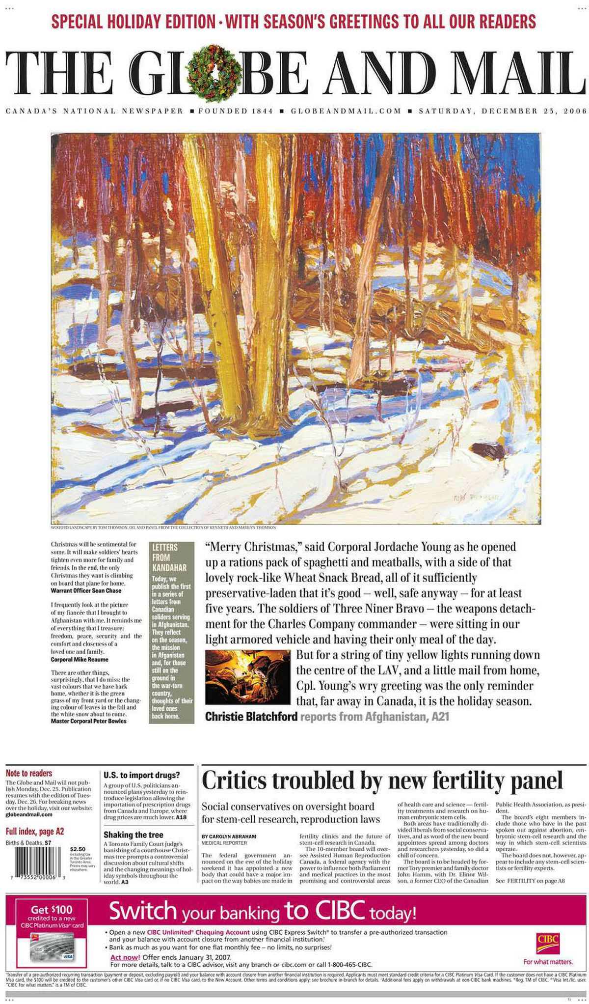 Cover of The Globe and Mail, Dec. 23, 2006