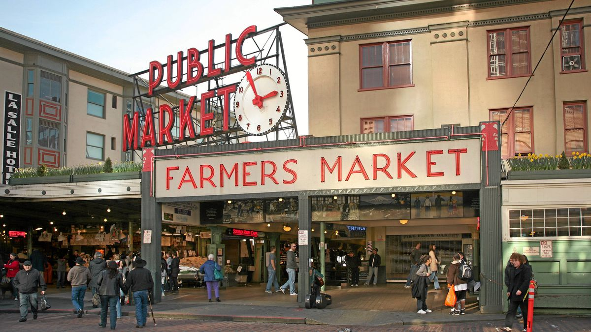 Pike and Pine streets end in the west at Pike Place Market.