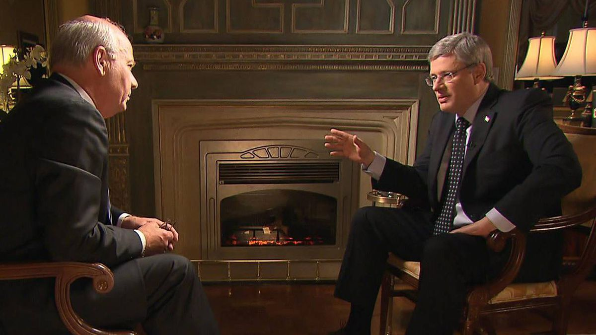 Peter Mansbridge interviews Prime Minister Stephen Harper on Jan.17, 2011.