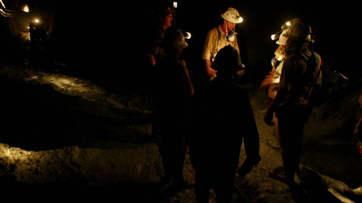 Miners work a tunnel in Goldcorp's Marlin gold mine in Guatemala.