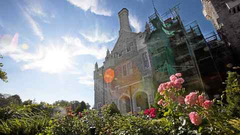 Scaffolding covers a portion of Casa Loma.