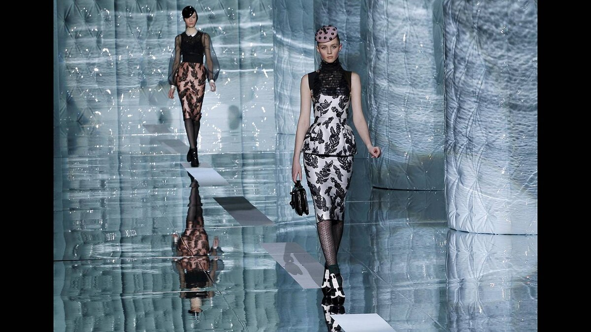 A model presents a creation from the Marc Jacobs Fall/Winter 2011 collection during New York Fashion Week