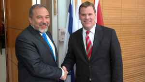 Canadian Foreign Minister John Baird meets with Israeli Foreign Minister Avigdor Lieberman at the Foreign Ministry in Jerusalem, Israel, on Wednesday, 1 February, 2012.