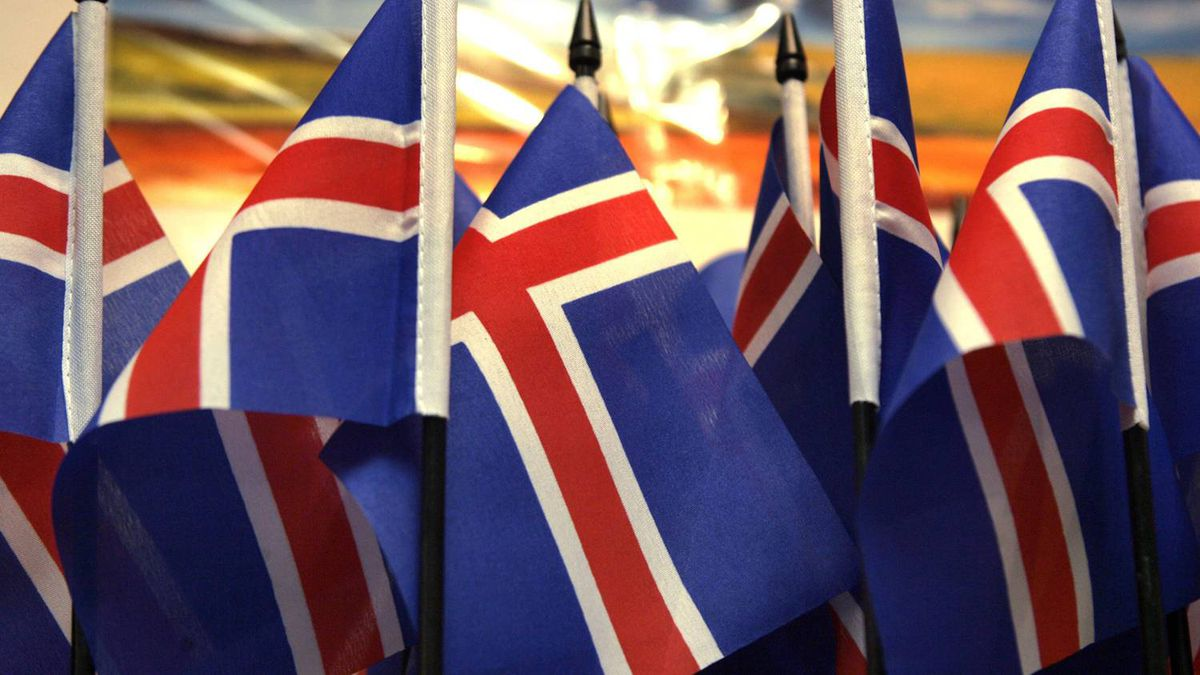 Iceland's flags are seen in a souvenir shop