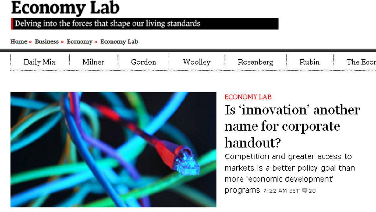The Globe's Economy Lab blog won an Eppy award for best business blog on Nov. 30, 2011.