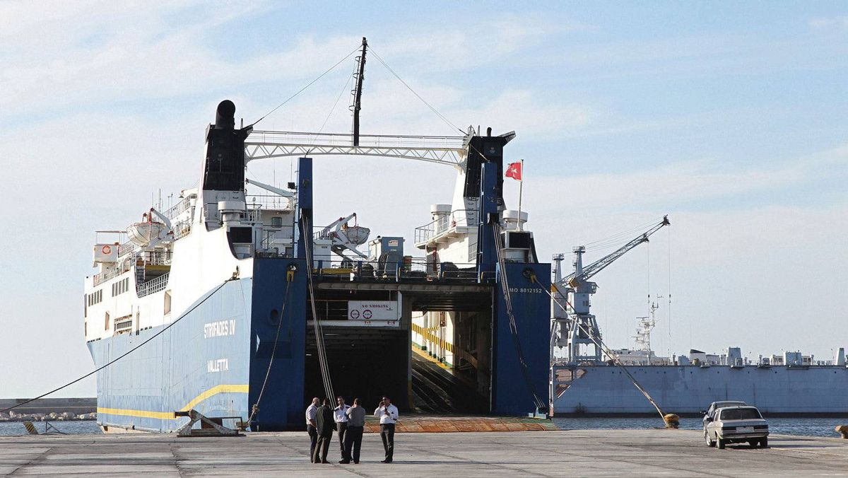 A ship is docked at Syria's Mediterranean port city of Latakia.