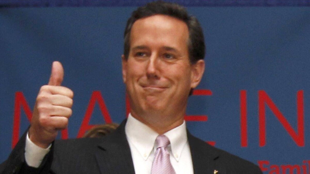 Republican U.S. presidential candidate Rick Santorum gives a thumbs up gesture at his Alabama and Mississippi primary election night rally in Lafayette, La., on March 13, 2012. Jonathan Bachman/Reuters