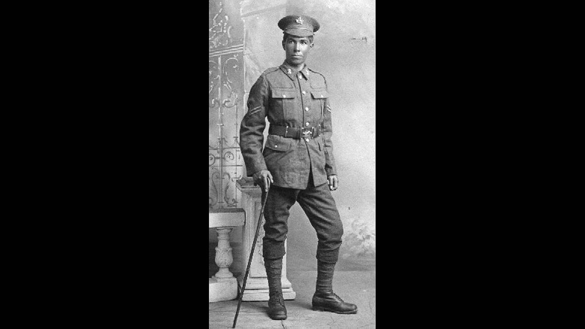 Steve Turner photo: Grandpa going off to fight the Kaiser - My Grandpa, John Turner, paddled for two days to reach the recruiting depot in Elk Lake. He served with the 6th Battalion, Canadian Railway Troops in 1917-18.