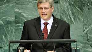 Prime Minister Stephen Harper addresses the Millennium Development Goals Summit at United Nations headquarters in New York on Sept. 21, 2010.