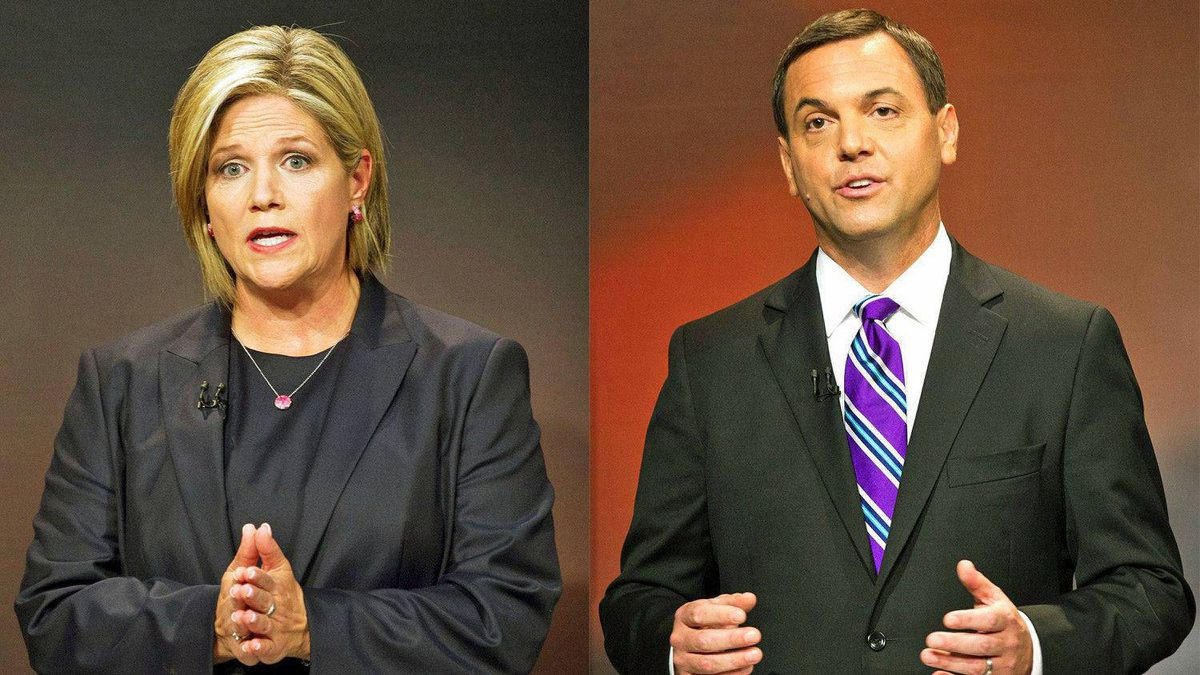 NDP Leader Andrea Horwath and Progressive Conservative Tim Hudak participate in the Ontario election leaders debate in Toronto on Sept. 27, 2011.