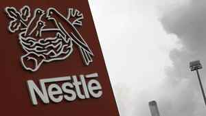 A Nestle logo is pictured on a factory in Orbe, Switzerland on April 20, 2012.