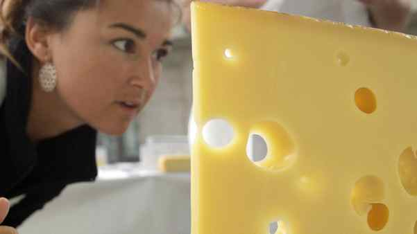 A member of the jury inspects an Emmentaler during the 7th Swiss Cheese Awards in Neuchatel September 30, 2010.