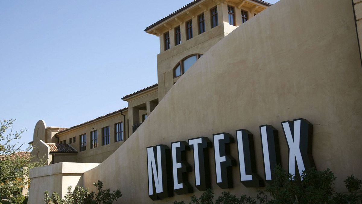 A sign is shown at the headquarters of Netflix in Los Gatos, California.