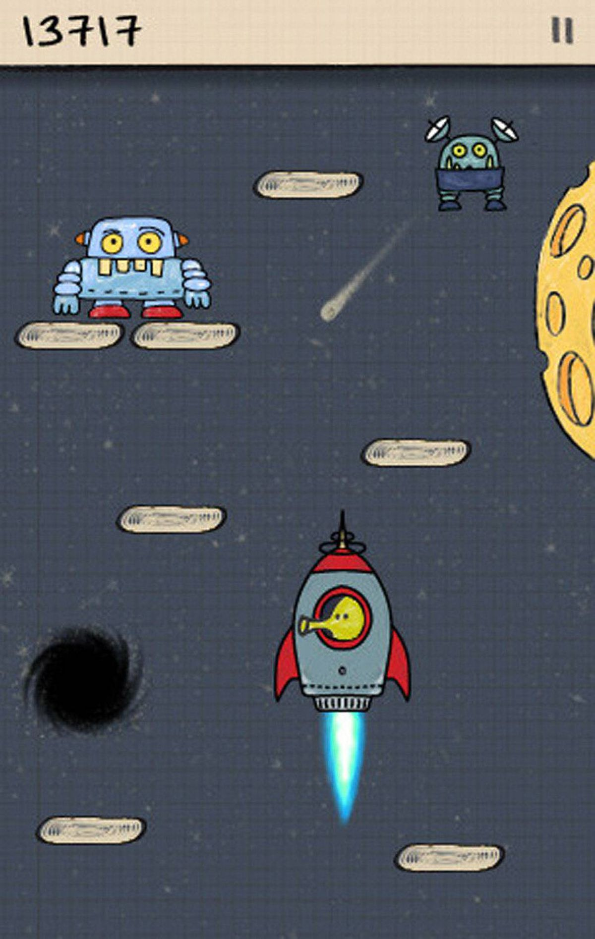 Doodle Jump (iPad/iPhone/iPod touch) Doodle Jump was one of the first and best games released for iOS. It's easy to learn but never boring. The star of the game is The Doodler, a strange four-legged creature who never stops jumping. Your goal is to guide the Doodler up a never-ending series of platforms by tilting your device to one side or another. Steer clear of UFOs and monsters that pop up along the way. Various objects help The Doodler go higher, including springs, jet packs, propeller hats, and trampolines. If you're lucky you'll find a rocket or two. The game ends if The Doodler falls and touches the bottom of the screen, or if he jumps into a monster, a black hole, or a UFO. ($0.99, limasky.com, also available: Doodle Jump HD for iPad: $2.99, sold separately.