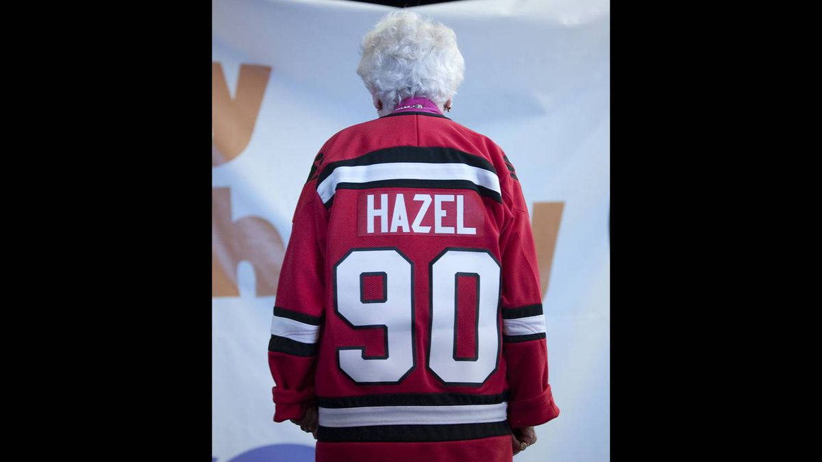 Ms. McCallion wears a Team Ontario hockey jersey which was a gift from the Ontario Women's Hockey Association while celebrating her 90th birthday at the Living Arts Centre in Mississauga.