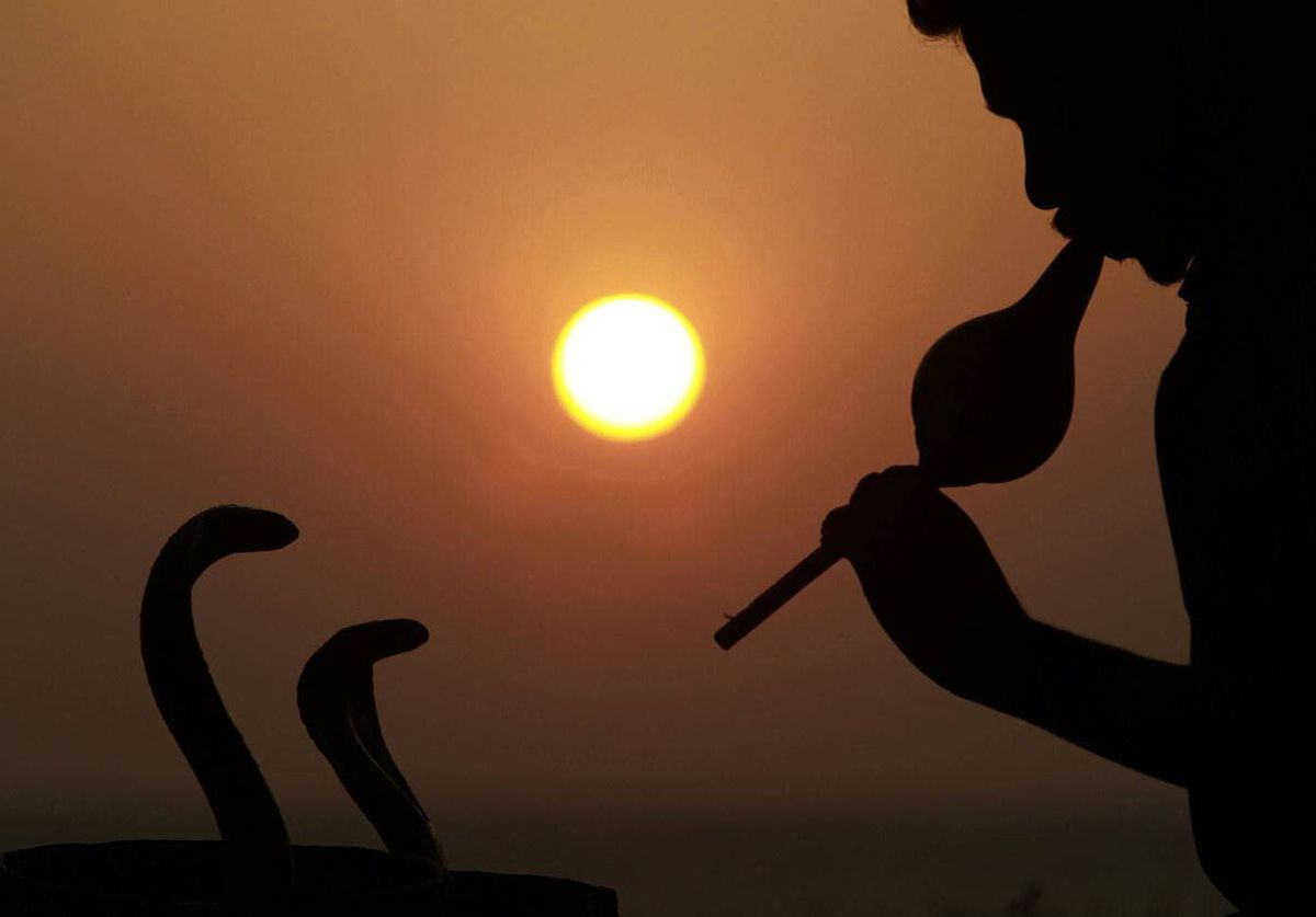 A snake charmer performs at Galle Face Green in Colombo, Sri Lanka.