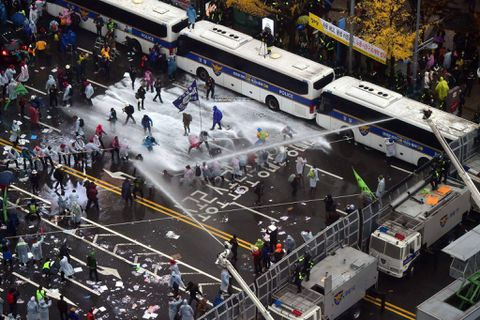 South Korea police detain over 50 in Seoul as protest for president's ouster turns violent