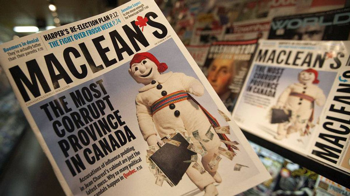 The latest edition of Maclean's magazine, which has sparked furor in Quebec, is seen at a news stand in North Vancouver on Sept. 24, 2010.