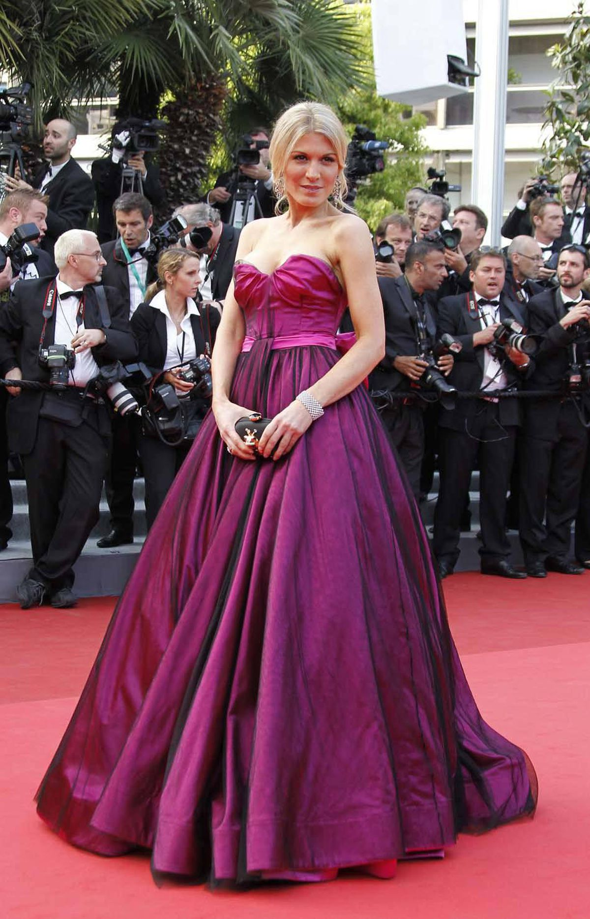 "Model Hofit Golan poses on the red carpet before the screening of ""Sleeping Beauty"" at the Cannes Film Festival on Thursday."